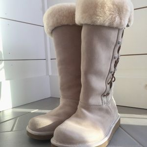 Women's UGG Cream Upside Lace-Up Suede Snow Boots